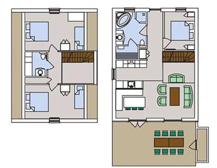 Plantegning af stueplan og 1 sal